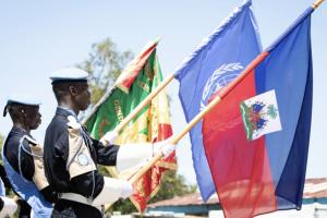 Closure ceremony of the Senegalese Formed Police Unit, MINUJUSTH headquarters, Port-au-Prince.
