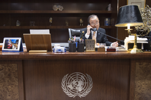 Secretary-General Ban Ki-moon speaks by phone with Donald J. Trump, President-elect of the United States, on 11 November. UN Photo/Eskinder Debebe