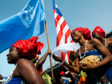 Traditional Liberian dancers perform during a farewell for the United Nations Mission in Liberia (UNMIL) organized by the NGO Liberia Crusaders for Peace in Monrovia.